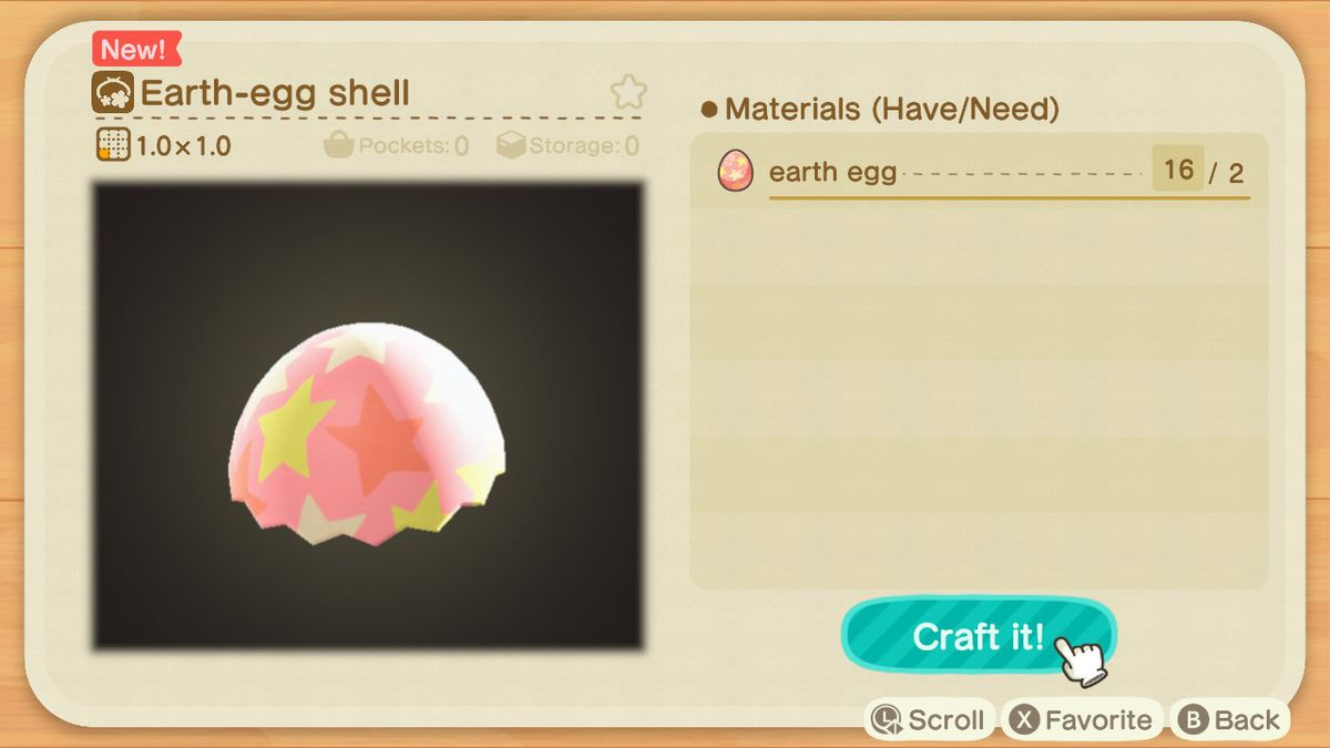 A crafting screen in Animal Crossing showing how to make a Earth-Egg Shell