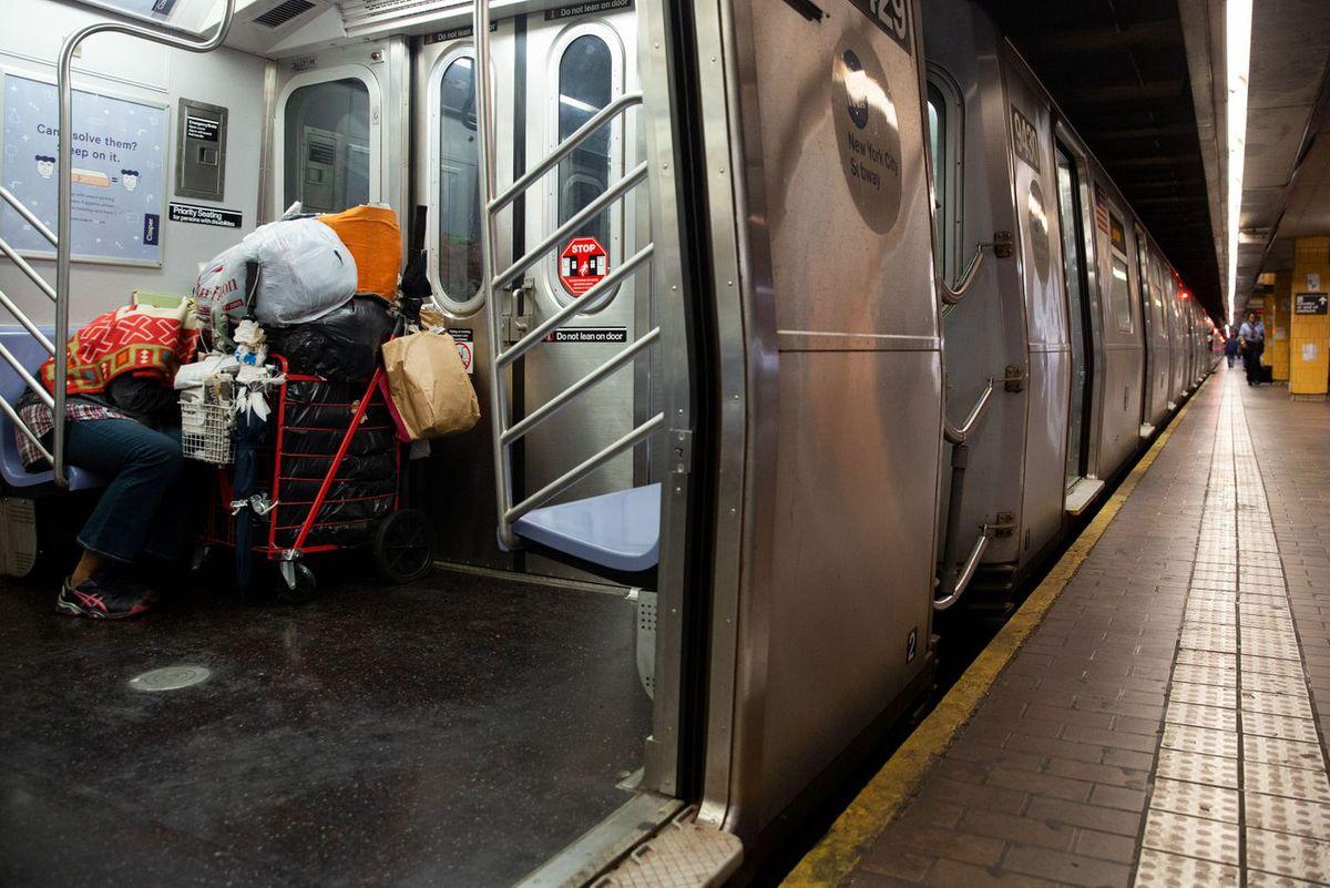 Homeless on subways