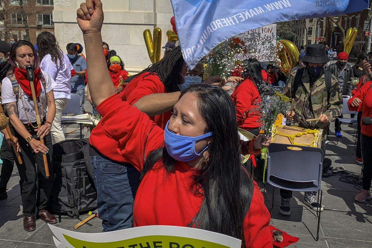Workers mark the end of their 23-days long hunger strike with celebrations at Washington Square Park eating tacos and mangos.
