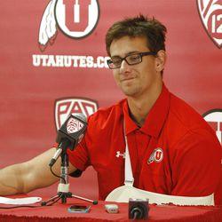 University of Utah quarterback Jordan Wynn announces his retirement for football after sustaining his fourth major shoulder injury last week Tuesday, Sept. 11, 2012, in Salt Lake City, Utah.
