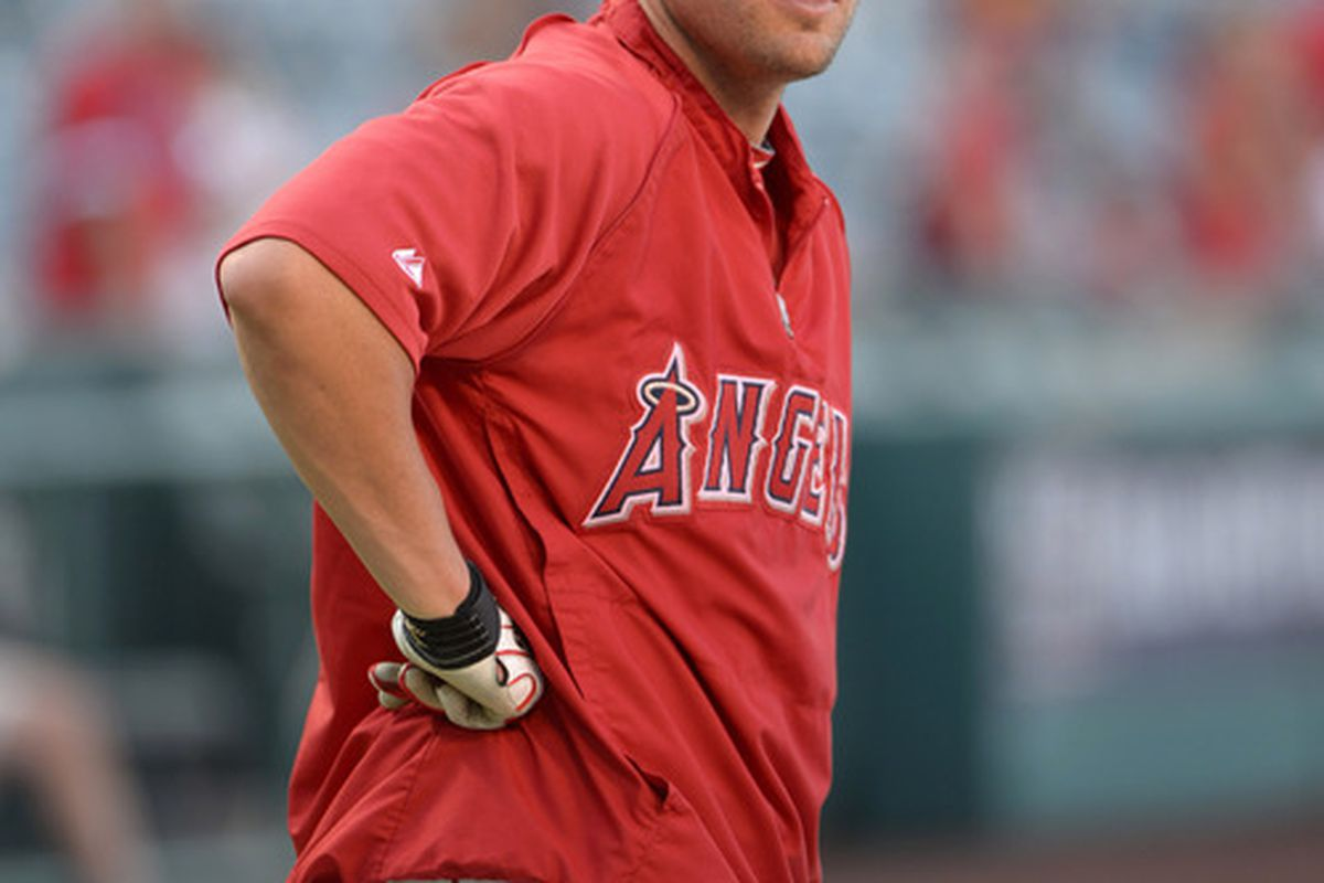 Jul 6, 2012; Anaheim, CA, USA; Los Angeles Angels center fielder Peter Bourjos (25) before the game against the Baltimore Orioles at Angel Stadium. Mandatory Credit: Kirby Lee/Image of Sport-US PRESSWIRE