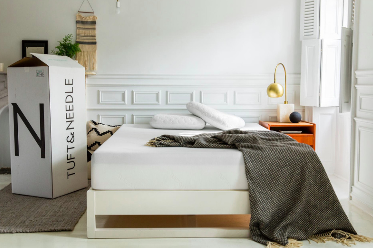 A Tuft & Needle mattress in a bedroom