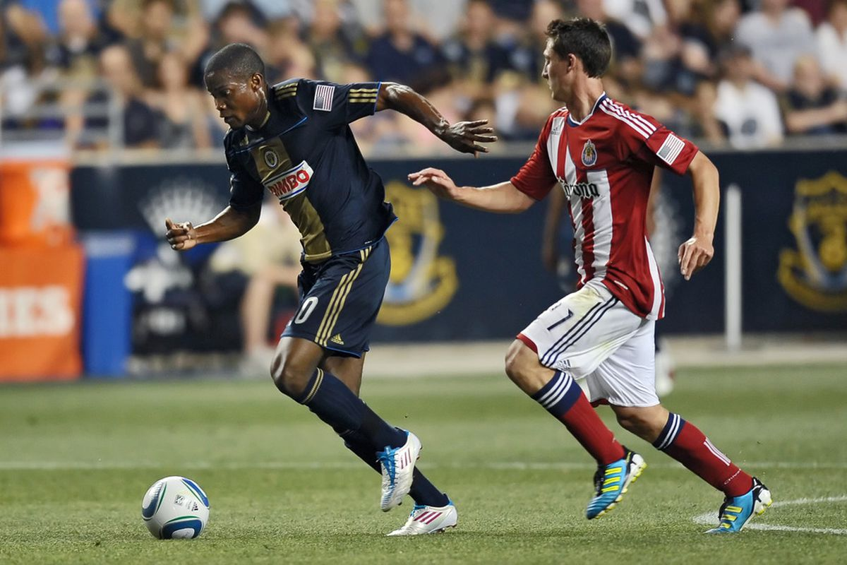 CHESTER, PA- JUNE 25: Danny Mwanga #10 of the Philadelphia Union runs down the ball in front of Chris Cortez #27 of Chivas USA at PPL Park on June 25, 2011 in Chester, Pennsylvania. The Union won 3-2. (Photo by Drew Hallowell/Getty Images)