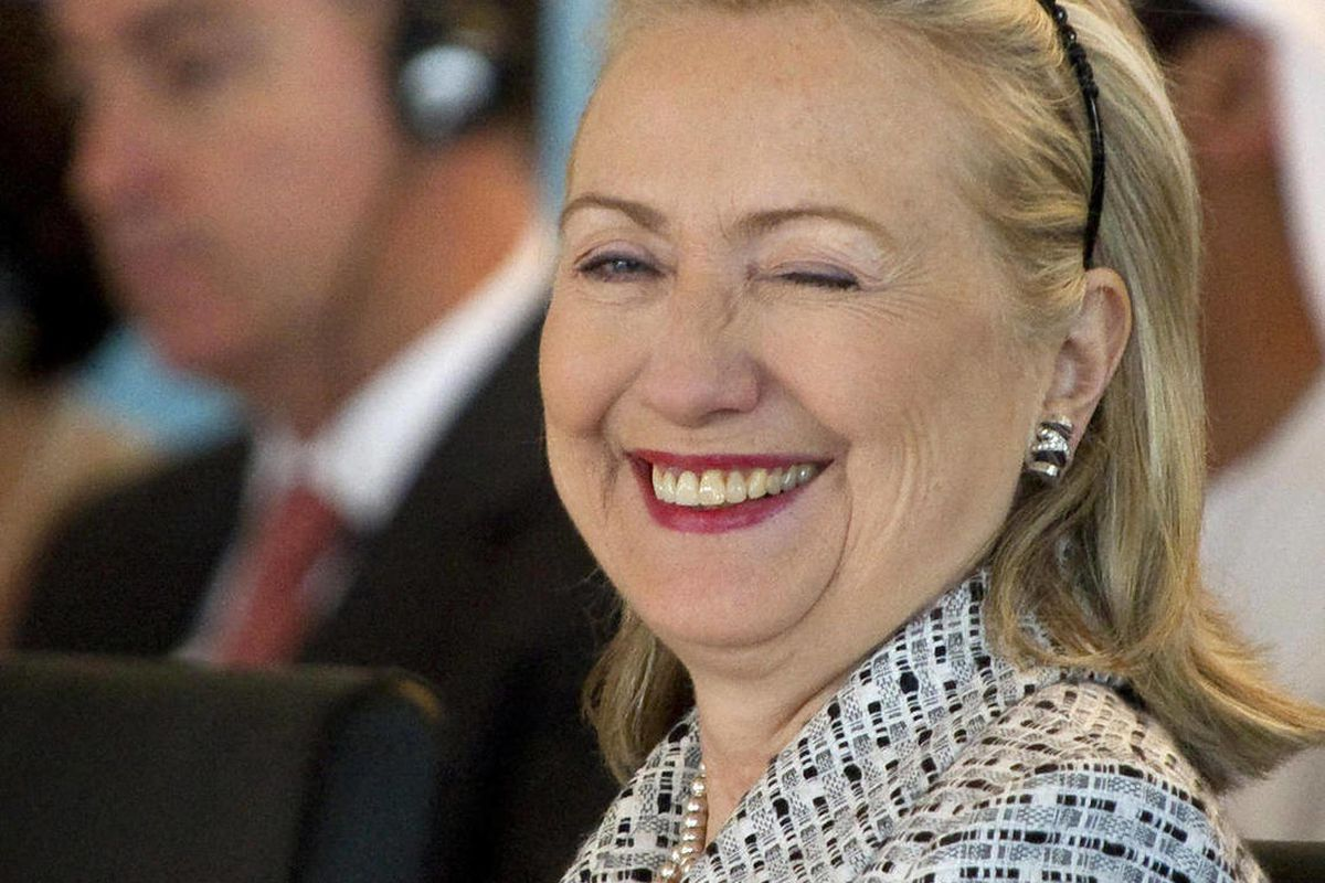 US Secretary of State Hillary Rodham Clinton winks during the fourth Libya Contact Group Meeting in Istanbul, Friday, July 15, 2011.