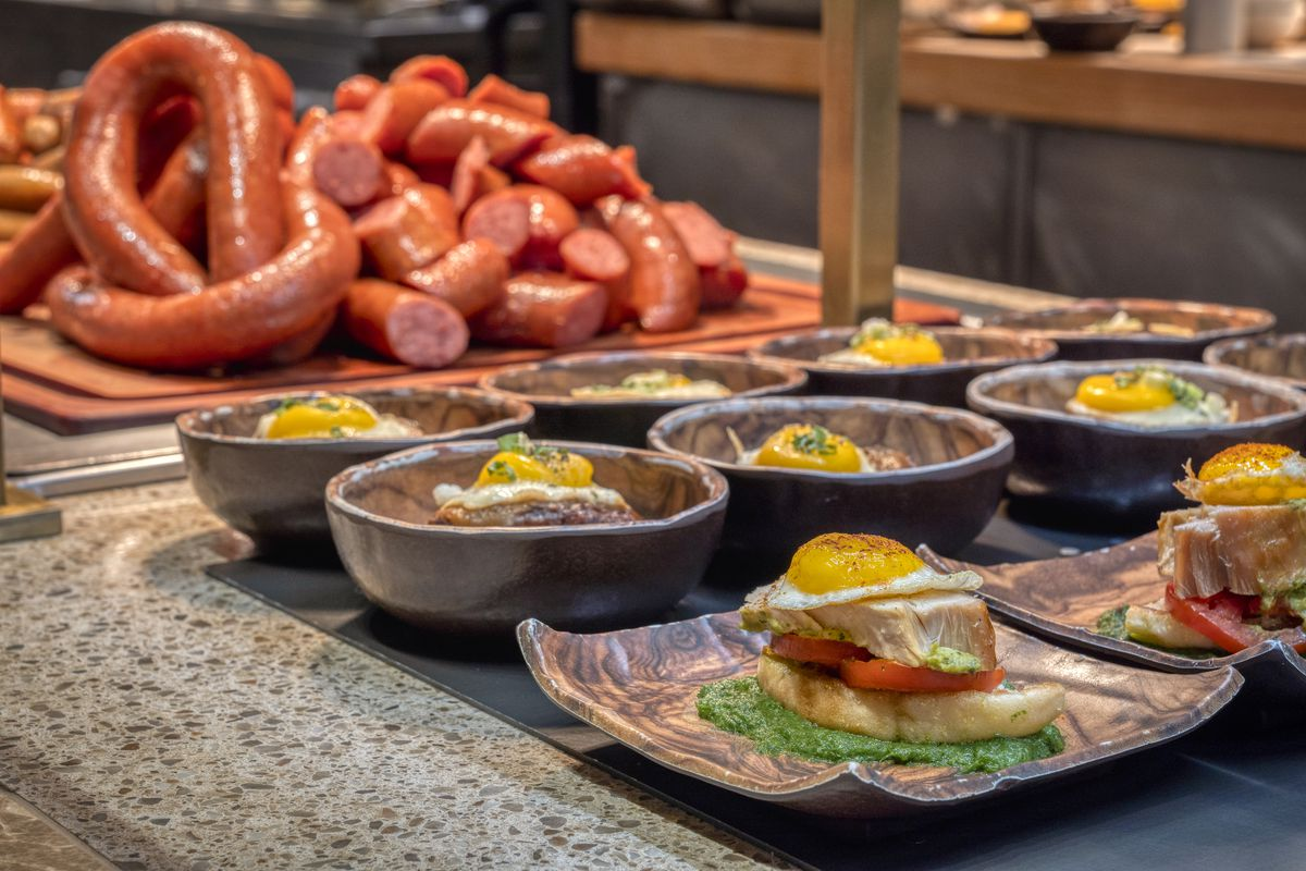 A variety of brunch dishes