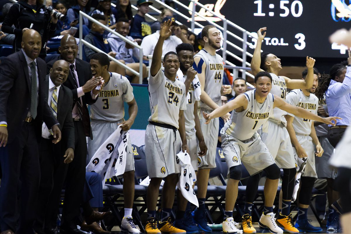 The Cal starters celebrate extended minutes for their teammates.