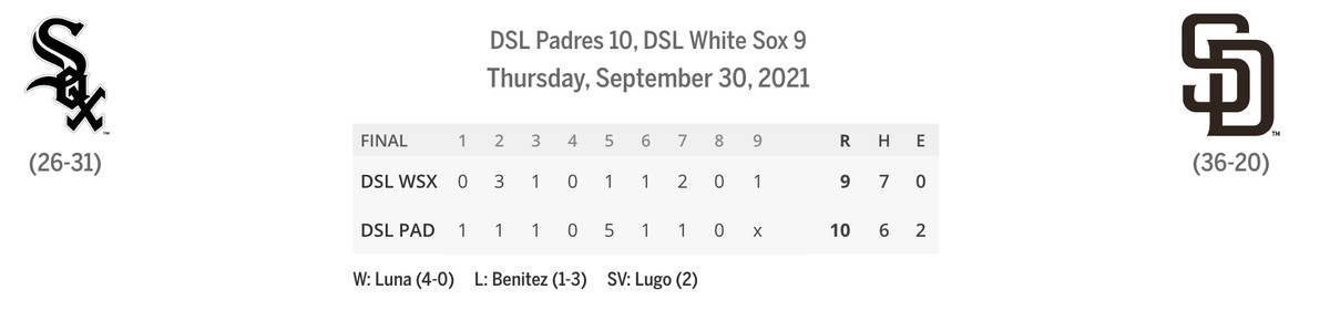 DSL Sox/Padres linescore