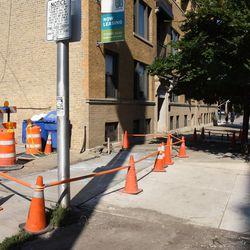 Sat 4:05 p.m. Concrete poured at the alley entrance, on Waveland -