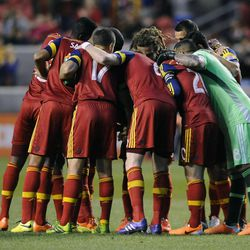 Real Salt Lake huddles before the start of a game against the Toronto FC at Rio Tinto Stadium in Sandy on Saturday, March 29, 2014.
