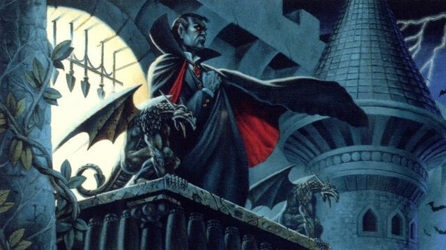 An illustratino of Strahd von Zarovich among the towers of Castle Ravenloft