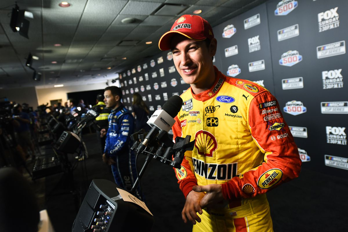 Joey Logano, driver of the Shell Pennzoil Ford, speaks with the media during the NASCAR Cup Series 62nd Annual Daytona 500 Media Day at Daytona International Speedway on February 12, 2020 in Daytona Beach, Florida.