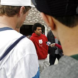 Friends of an Alta High School student who was accused of a racist stunt at school tell their point of view in Draper on Tuesday, March 29, 2011. At center is Adriel Jefferson.