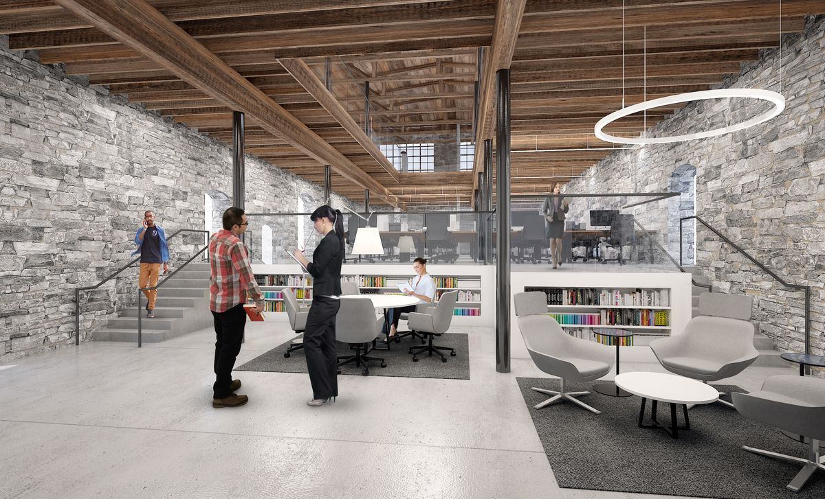 A rendering shows what the open office space could look like.
