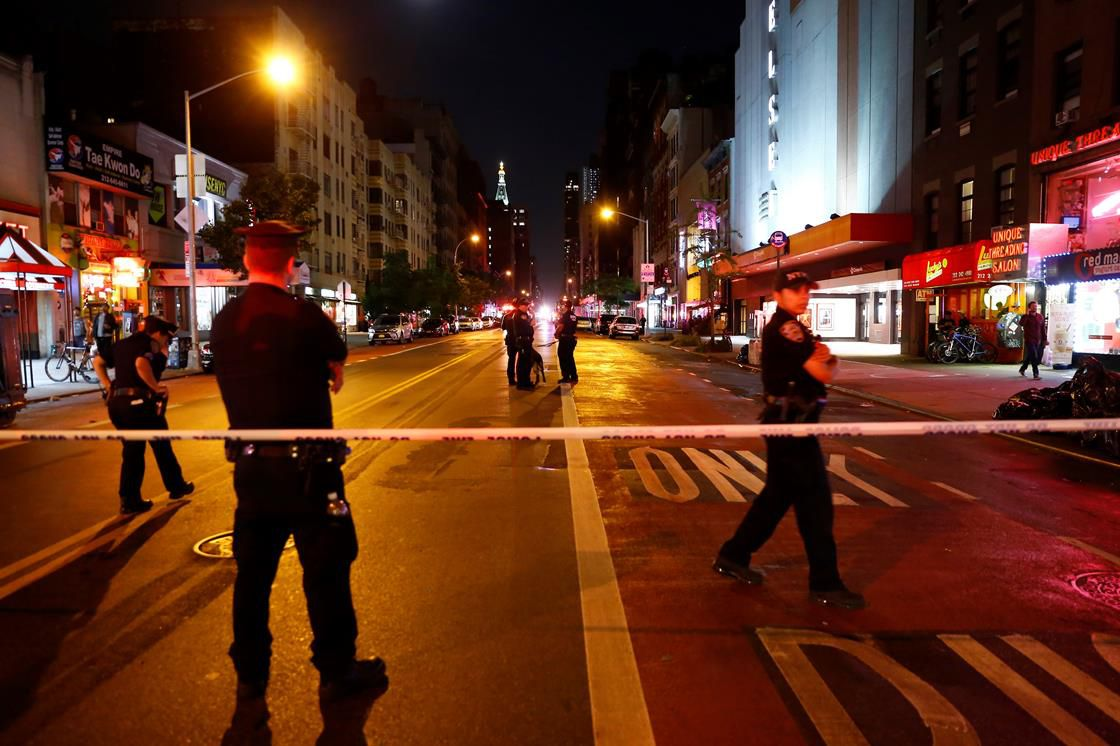 Police in New York City following bombing