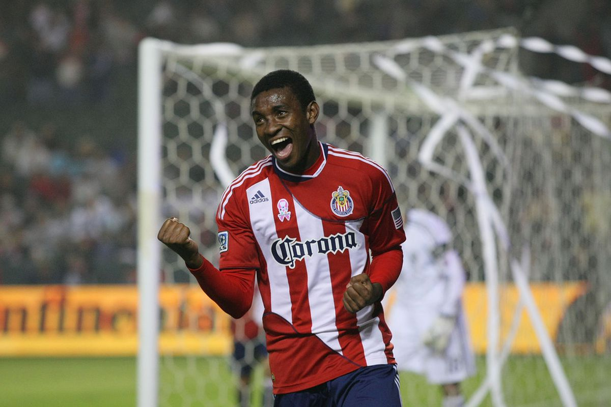 CARSON, CA - OCTOBER 22: Another goal for our favorite Ecuadorean (Photo by Victor Decolongon/Getty Images)