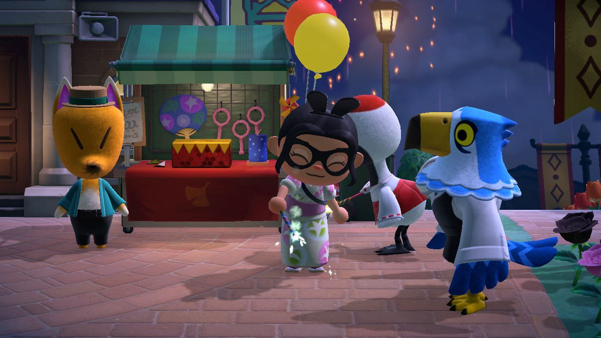 An Animal Crossing character uses a Blue Sparkler