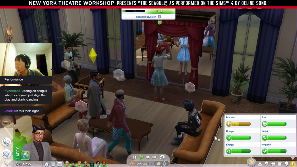 Celine Song playing The Sims 4 as the characters of The Seagull