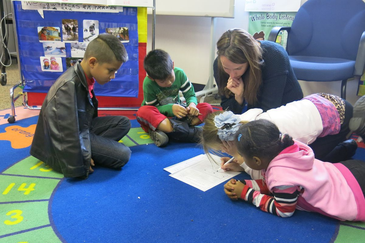 Third graders at Ellis Elementary study English with ESL teacher Bree Roon.