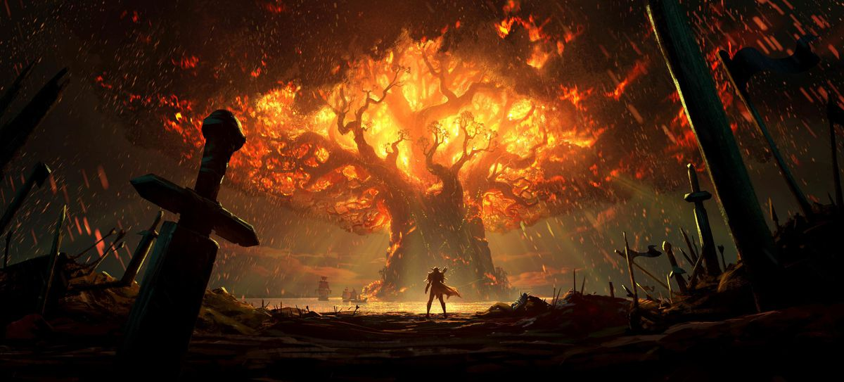World of Warcraft: Battle for Azeroth - The World Tree of Darnassus burns
