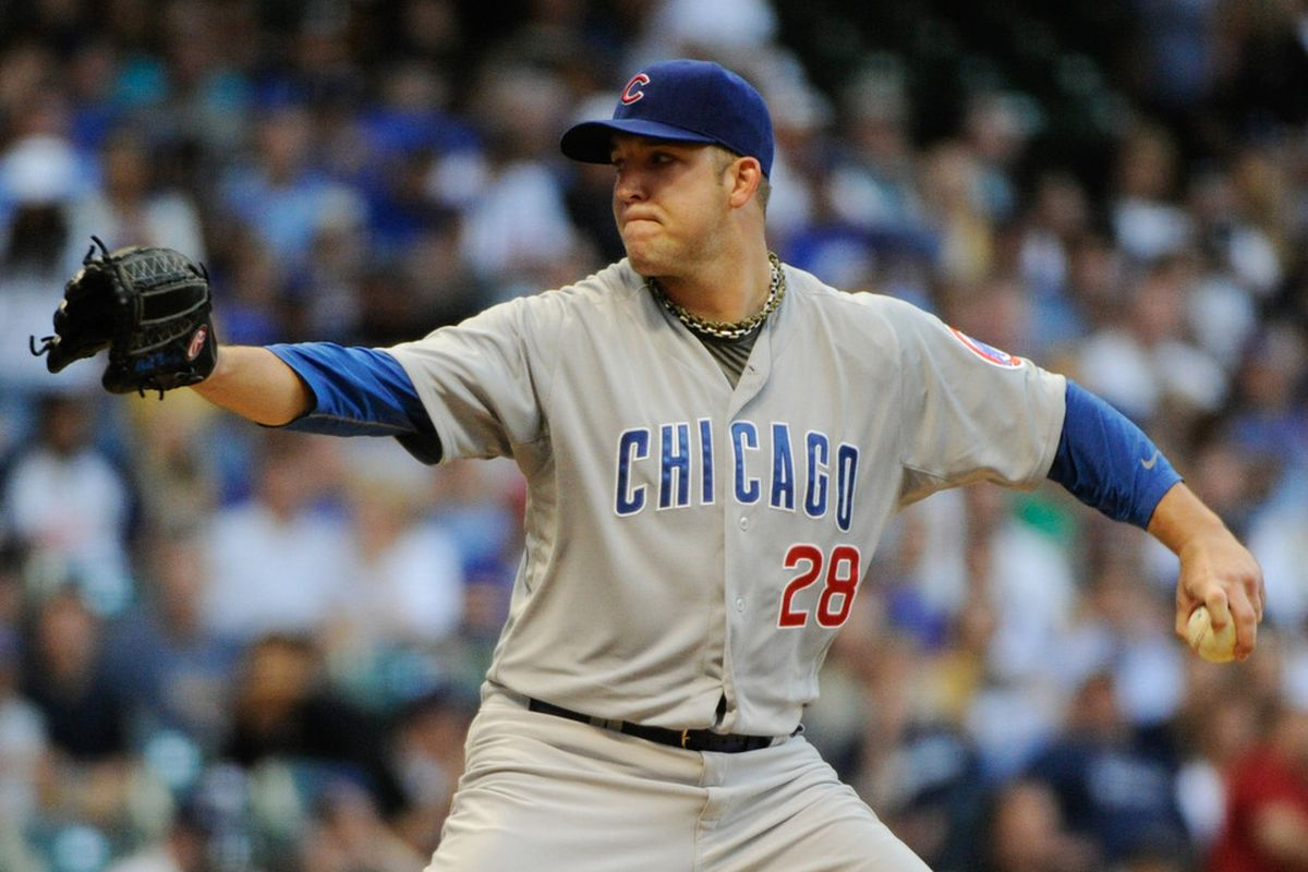 June 6, 2012; Milwaukee, WI, USA;  Chicago Cubs pitcher Paul Maholm (28) pitches against the Milwaukee Brewers in the second inning at Miller Park.  Mandatory Credit: Benny Sieu-US PRESSWIRE