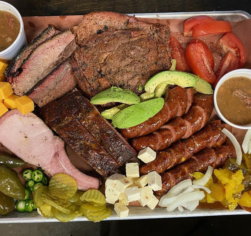 A barbecue tray from Hays County Barbeque