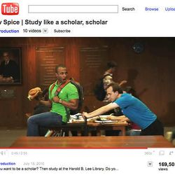 """The Harold B. Lee Library's Old Spice spoof, """"New Spice, Study like a Scholar, Scholar"""" commercial, featuring HumorU comedian and BYU student Stephen Jones, plays up all the library has to offer."""