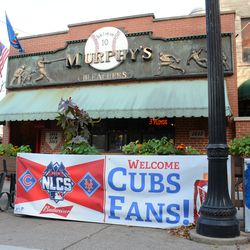 4:17 p.m. Banners still out in front of Murphy's Bleachers -