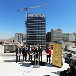 Gov. Gary Herbert discusses Downtown Rising projects and its priorities for the next 10 years from atop the Walker Center in Salt Lake City on Tuesday, May 3, 2016. He was joined by local business leaders and other elected officials.