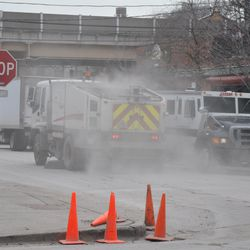 Dirt kicked up by street sweeping truck on Waveland just east of Sheffield