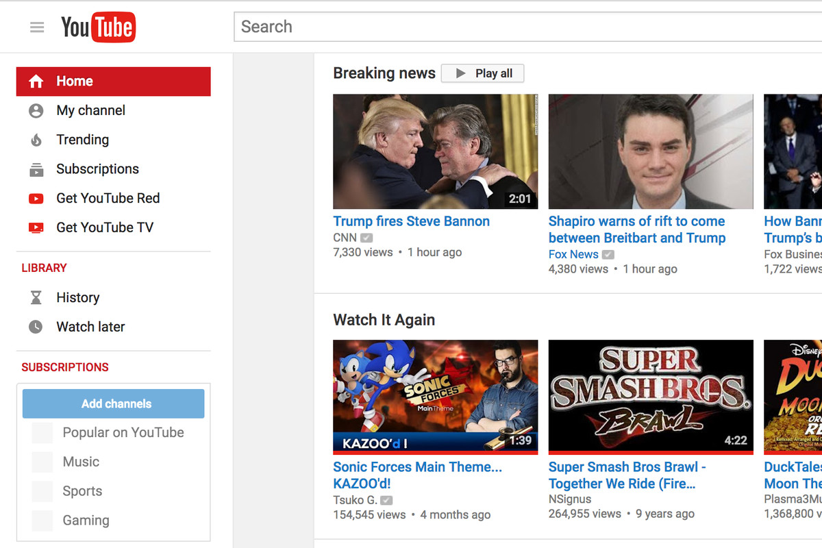 YouTube adds 'breaking news' section to homepage and ...