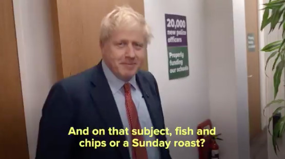 Boris Johnson discusses fish and chips and sunday roasts on twitter