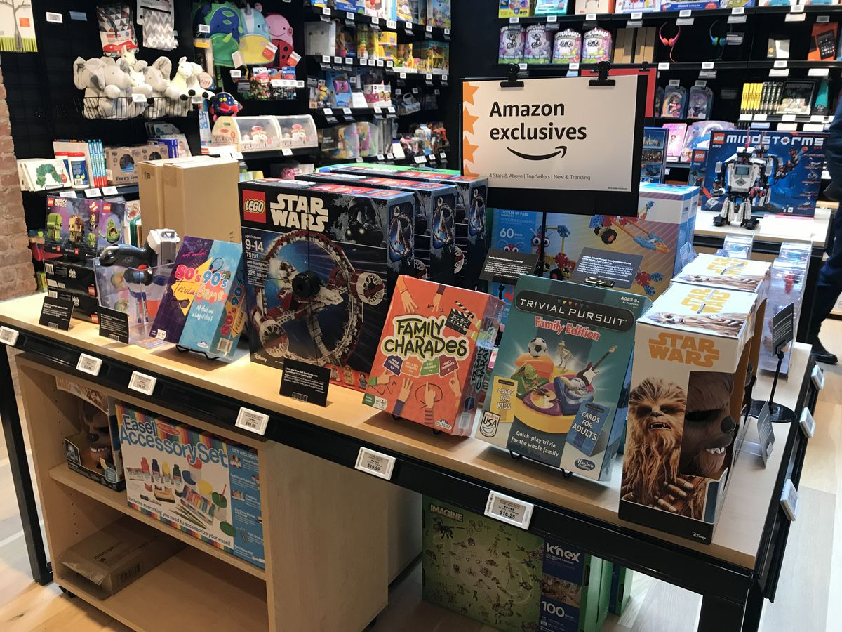 """A display of """"Amazon Exclusives"""" merchandise inside the new Amazon 4-Star store in New York City."""