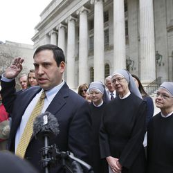 Lead cousel Mark Rienzi, representing Little Sisters of the Poor, speaks to members of the media after attending a hearing in the 10th U.S. Circuit Court of Appeals, in Denver, Colo., Monday, Dec. 8, 2014, in this file photo.  The Trump administration on Friday, Oct. 6, announced a long-awaited change to the Affordable Care Act's contraception mandate, expanding exemptions and accommodations to employers with religious and moral objections to birth control.