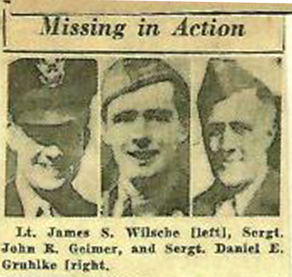 A newspaper report listed James Wilschke among the missing in action in World War II.