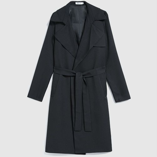 Classic black trench coat with belted tie.