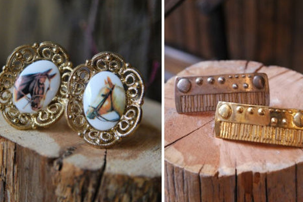 """Old Hollywood's <a href=""""http://shop.oldhollywoodmoxie.com/collections/old-hollywood/products/horse-cameo"""">Horse Cameo</a> and <a href=""""http://shop.oldhollywoodmoxie.com/collections/old-hollywood/products/keyboard"""">Keyboard</a> ring"""