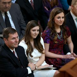 Stan Lockhart, husband of former Speaker of the House Rebecca Lockhart, left, daughters Hannah Lockhart and Emily Britton, and Britton's husband, Max, attend the memorial service for former Speaker of the House Rebecca Lockhart in the Capitol rotunda in Salt Lake City on Thursday, Jan. 22, 2015. Lockhart died at her home in Provo on Jan. 17, 2015, from a rare brain disease.