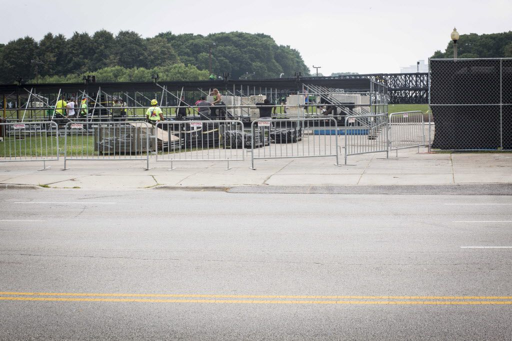 Construction for Lollapalooza, which starts on Aug. 3, has already begun at Grant Park on Thursday, July 27, 2017. | Michelle Kanaar/For the Sun-Times