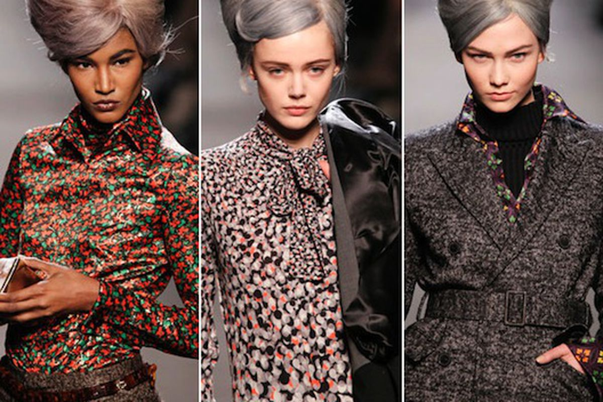 """A very mature look for JPG, in more ways than one. Images via <a href=""""http://latimesblogs.latimes.com/alltherage/2011/03/paris-fashion-week-jean-paul-gaultier-does-elder-chic-.html"""">All the Rage</a>"""
