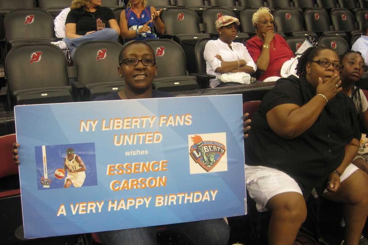 A fan at the Prudential Center ready to witness the New York Liberty give guard Essence Carson a birthday win over the Washington Mystics. <em> Photo by Ray Floriani. </em>
