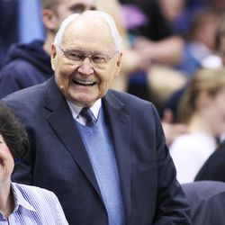 Elder L. Tom Perry watches the BYU Cougars play basketball in Provo on Thursday, Feb. 6, 2014.