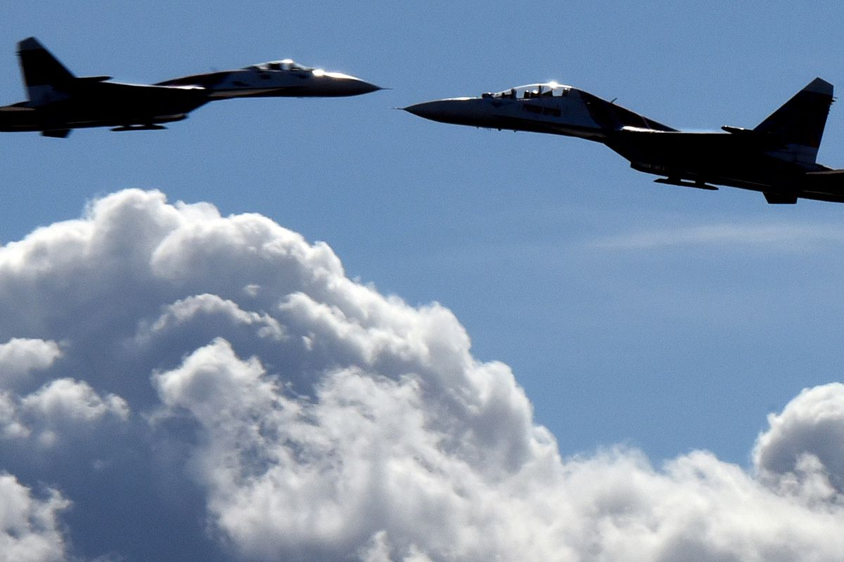Russian Sukhoi Su-27 jet fighters.