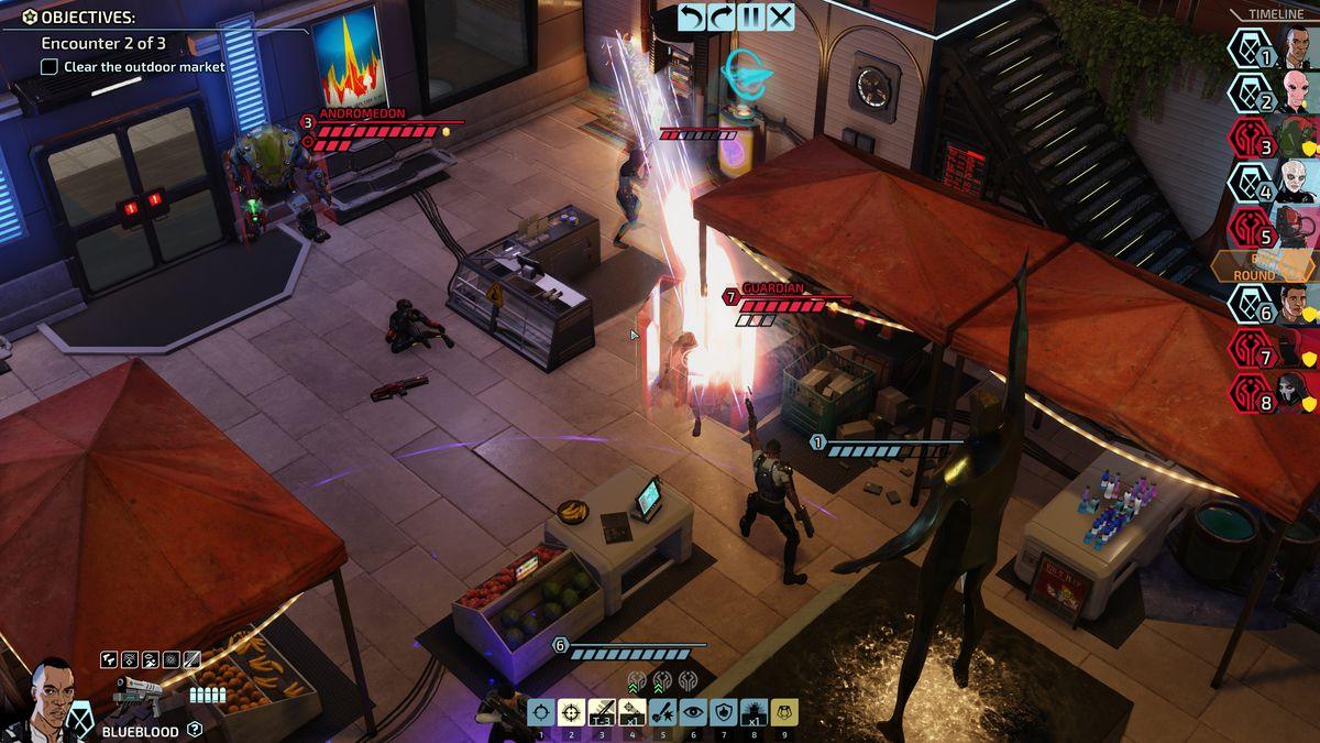 جندي XCOM يدعى Blueblood ، وهو خبير في مسدسات قوية ذات سلاح مزدوج ، يستهدف اثنين من الأعداء ذوي القوة العالية مع انفجار واحد.
