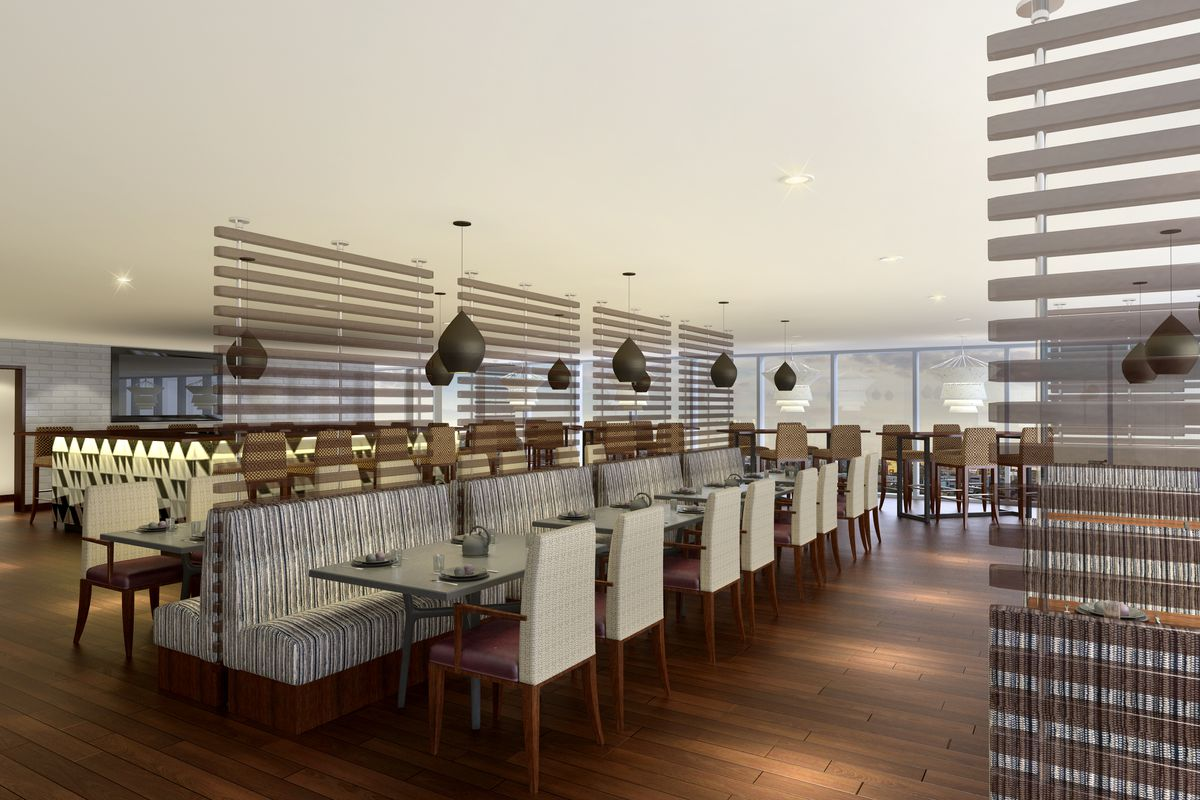 A rendering of the dining room at Apron.