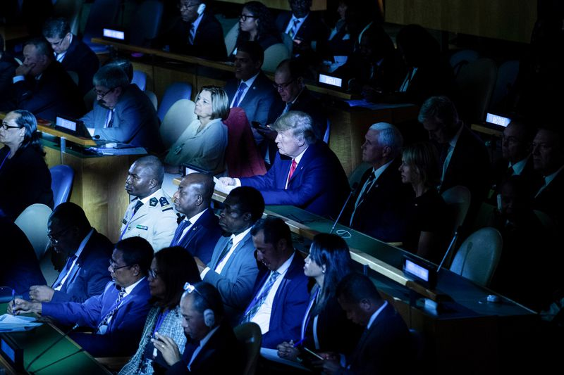 President Trump is seen in the audience at the UN Climate Action Summit.