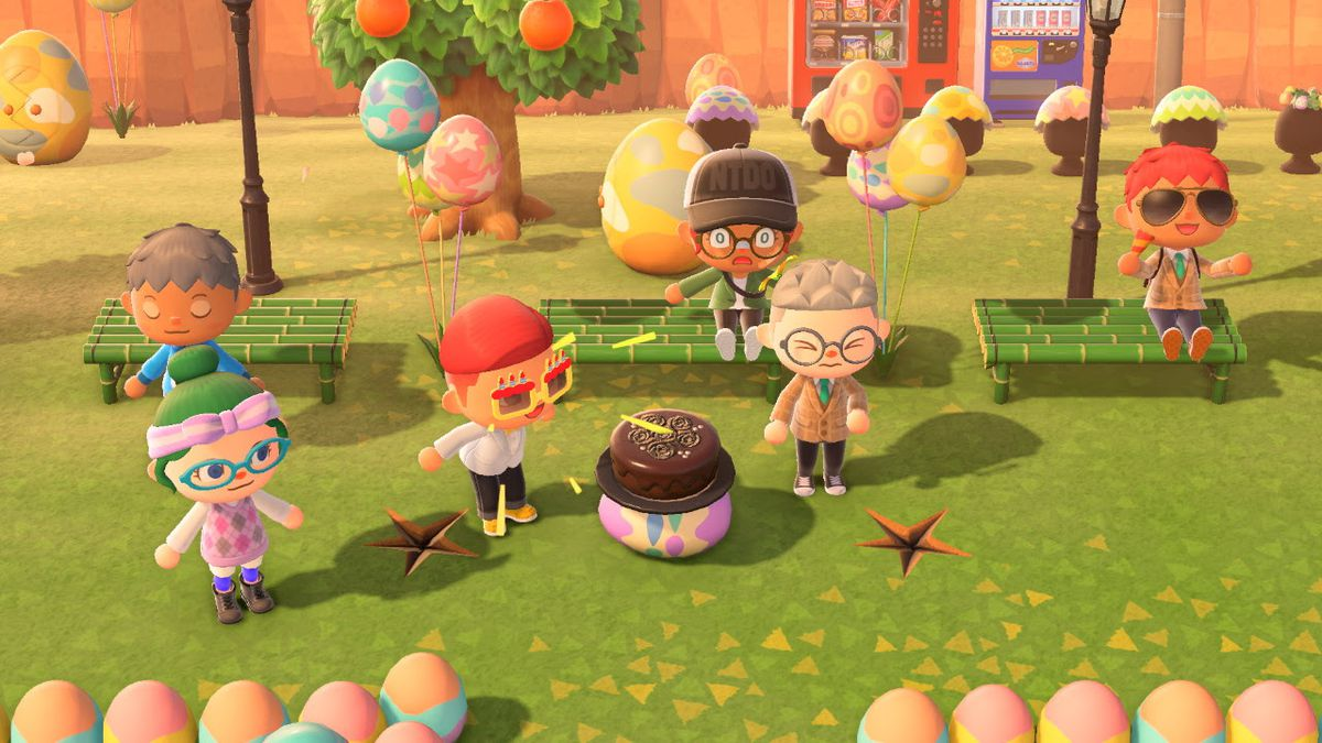 Animal Crossing island birthday party on a green lawn with bamboo benches.