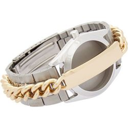 """Maison Martin Margiela double-band watch strap/ID bracelet, $995 at <a href=""""http://www.barneys.com/on/demandware.store/Sites-BNY-Site/default/Product-Show?pid=00505030495593&cgid=womens-watches&index=11"""">Barneys</a>."""
