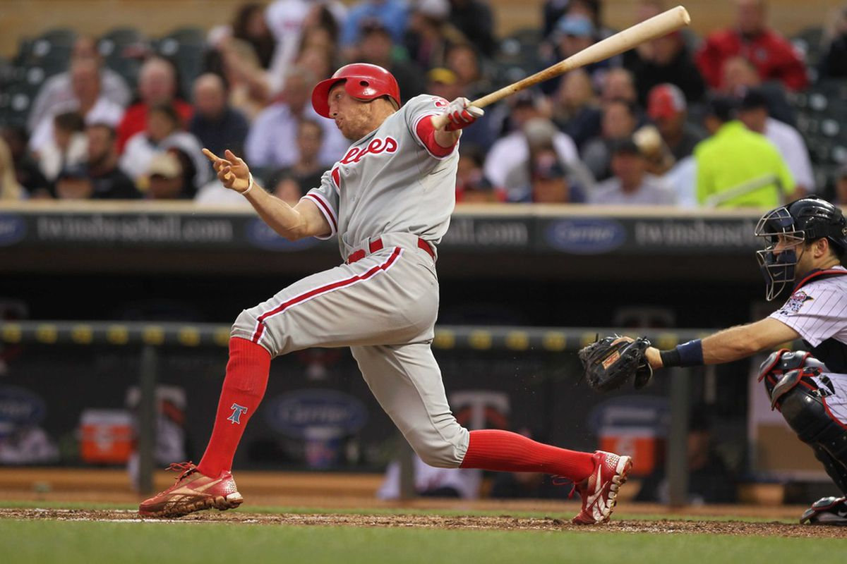 June 14, 2012; Minneapolis, MN, USA; Philadelphia Phillies outfielder Hunter Pence (3) against the Minnesota Twins at Target Field. The Phillies defeated the Twins 6-1. Mandatory Credit: Brace Hemmelgarn-US PRESSWIRE