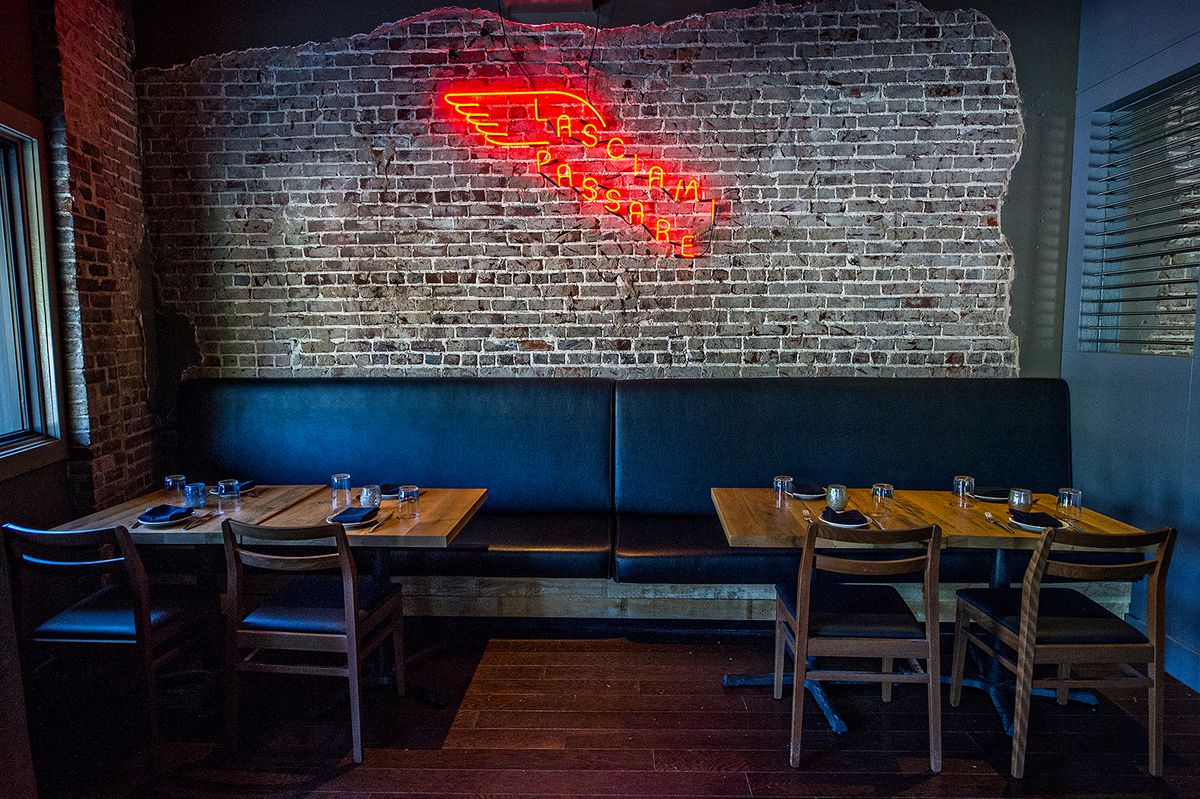 Double Zero sports neon and open brick in parts of the dining room.