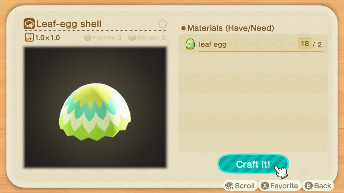 A crafting screen in Animal Crossing showing how to make a Leaf-Egg Shell